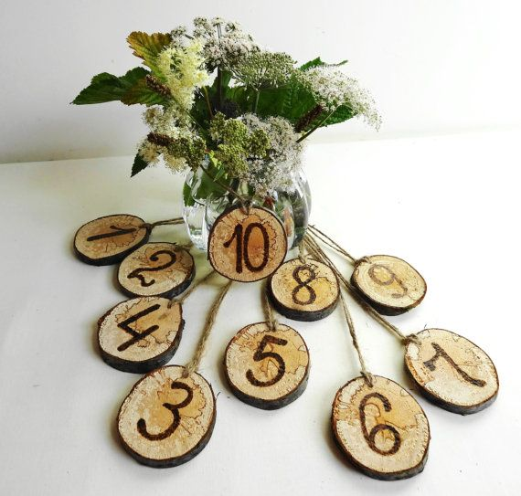 Wooden Table Numbers, Birch Table Numbers, Rustic Wood Table Numbers, Rustic Wedding Decor, 1-10 Table Numbers on Etsy, $20.56  If we do table numbers, maybe Jocelyn could use her wood burning skills...:)