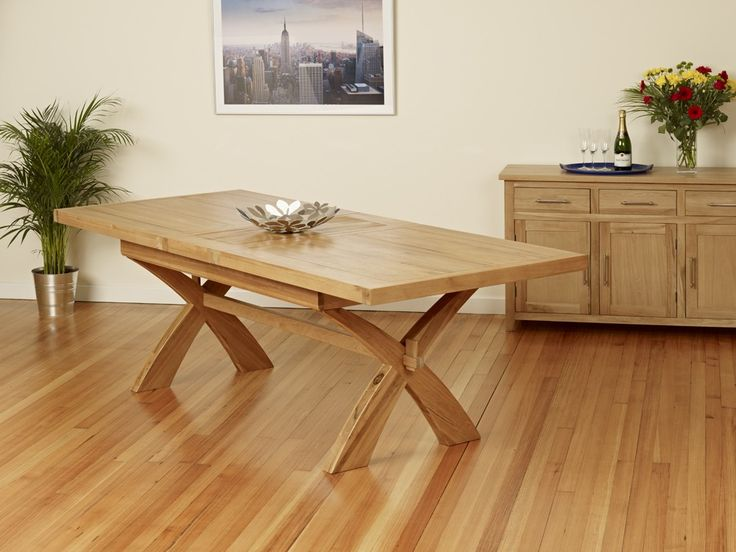 Solid oak extenable dining table w cross legs furniture extending to in home furniture diy furniture table chair sets