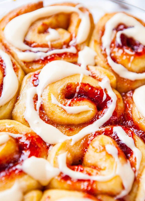 Strawberry Sweet Rolls with Vanilla Cream Cheese Glaze ~ Perfect breakfast for Valentine's Day!