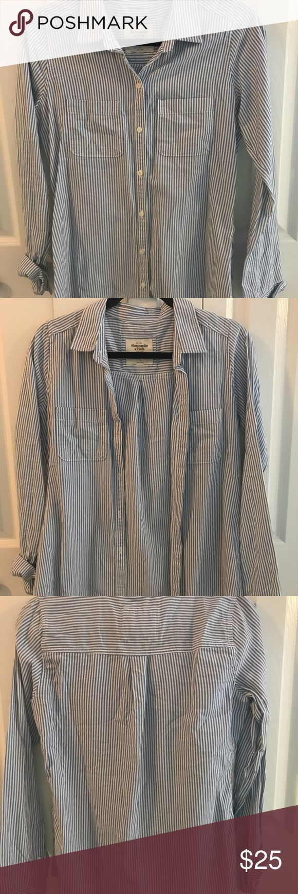 Blue and white stripped button up Women's blue and white stripped button up. Can roll up or down sleeves. Only worn once Abercrombie & Fitch Tops Button Down Shirts