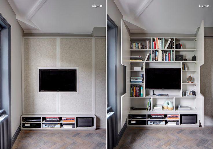 TV framed by cabinet doors!
