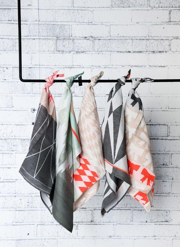 Tea towels by Dutch designer Mae Engelgeer, from The Minimalist.  Photo - Chris Warnes, styling – Sarah Ellison. Via @The Design Files
