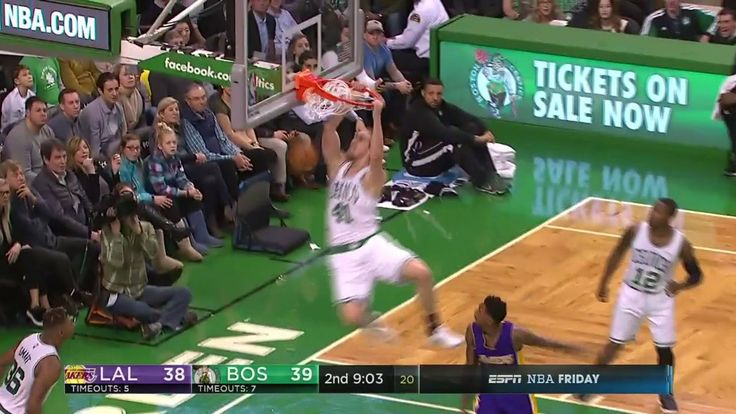 Kelly Olynyk gets some hang time on the Boston Celtics break!