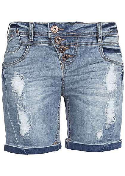 Eight2Nine Damen Jeans Short Destroy Look asym Knopfreihe by Rock Angel mid blue denim Eight2Nine Women Shorts | 77onlineshop im Online Shop preiswert kaufen