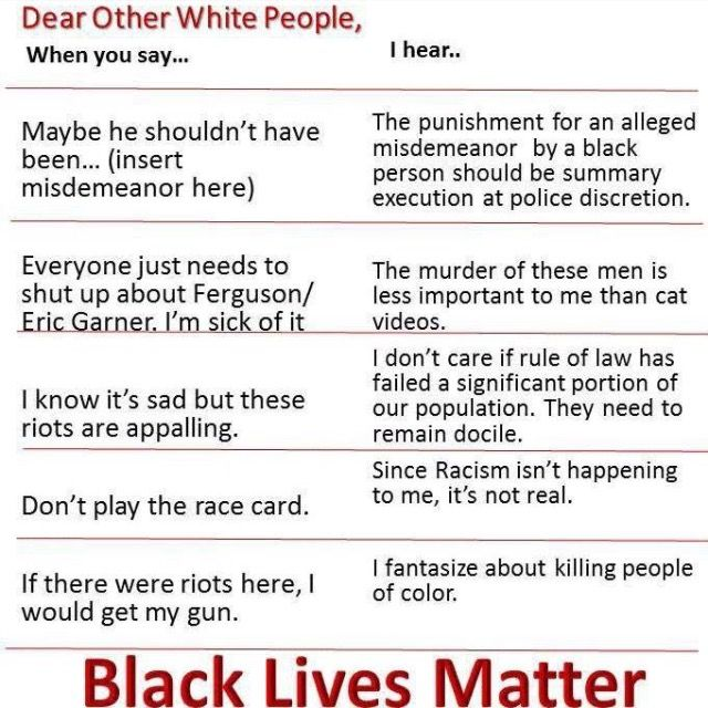 Dear Other White People... When these words come out of your mouth, here's what others may hear...