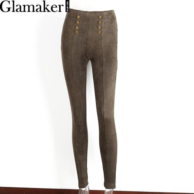 Glamaker Кнопку замши женские брюки и капри Тощий стрейч случайные высокой талии брюки Весна bodycon тонкий брюкикупить в магазине GlamakerнаAliExpress