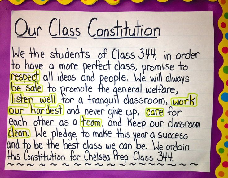Lesson plan about studying the Constitution in third grade particularly and then writing a class one.