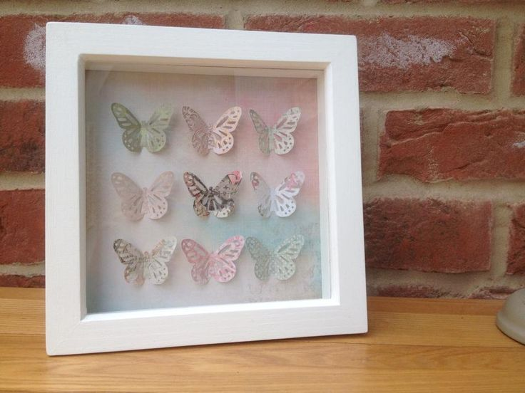 "Nine butterflies in pastels picture.  Can be made in any colour.  Frame size 6x6"". Made to order. £14 + £4 p&p"