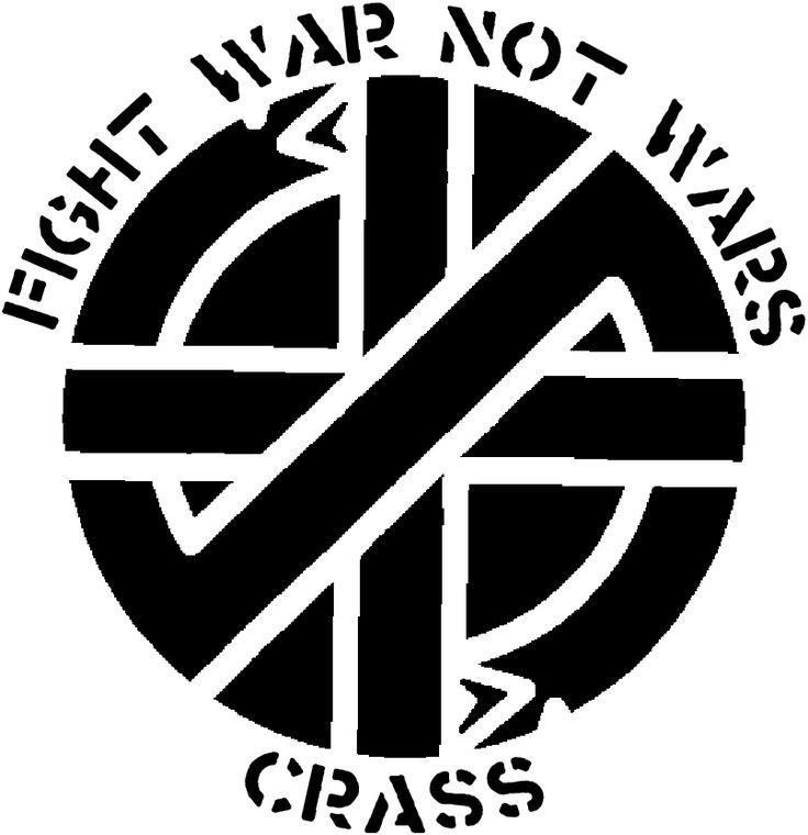 Crass, an early English political punk band, was known for having a distinct stenciled font and logo, featured here.    http://en.wikipedia.org/wiki/Crass