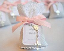 Christening Lavender Sachets Favor with Mini Rosary & Pink Ribbon - Baby Girl Baptism Favors - (set of 40 sachets)