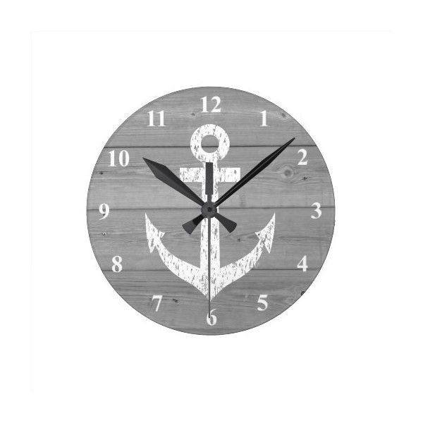 Nautical wall clock | boat anchor and wood panels ($28) ❤ liked on Polyvore featuring home, home decor, clocks, nautical home decor, boat clock, nautical theme home decor, nautical clock and nautical themed wall clocks