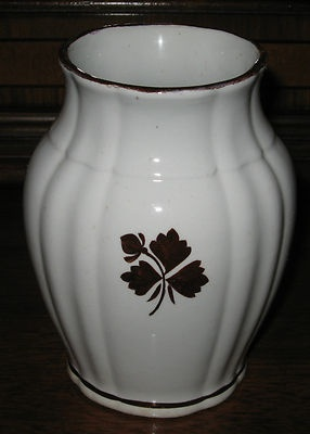 ANTIQUE MEAKIN ROYAL IRONSTONE TEA LEAF COPPER LUSTER TOOTHBRUSH HOLDER VASE EXC