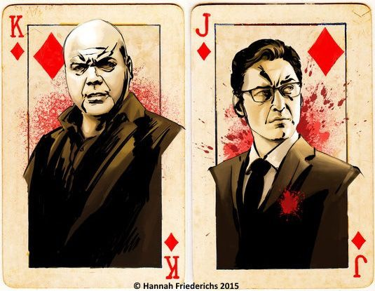 Daredevil Playing Cards by Hannah Friederichs: Wilson Fisk and James Wesley   more here: http://playingcardcollector.net/2015/05/12/daredevil-playing-cards-by-hannah-friederichs/