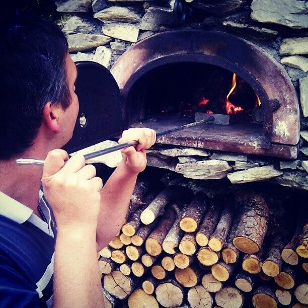 Andy worked the oven...pizzas...desert..bread at Chalet Cannelle, Chatel, France