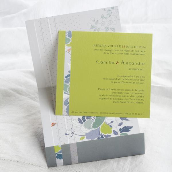 faire part de mariage editions cr atives ec m075 faire part de mariage gris et vert pomme th me. Black Bedroom Furniture Sets. Home Design Ideas