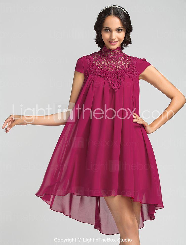 Bridesmaid Dress Asymmetrical Chiffon Sheath Column High Neck Dress