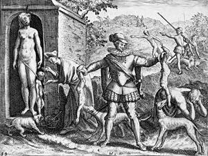 The Black Legend (Spanish: La Leyenda Negra) is a style of historical writing or propaganda that demonizes the Spanish Empire, its people and its culture. A 1598 engraving by Theodor de Bry depicting a Spaniard feeding Indian children to his dogs.