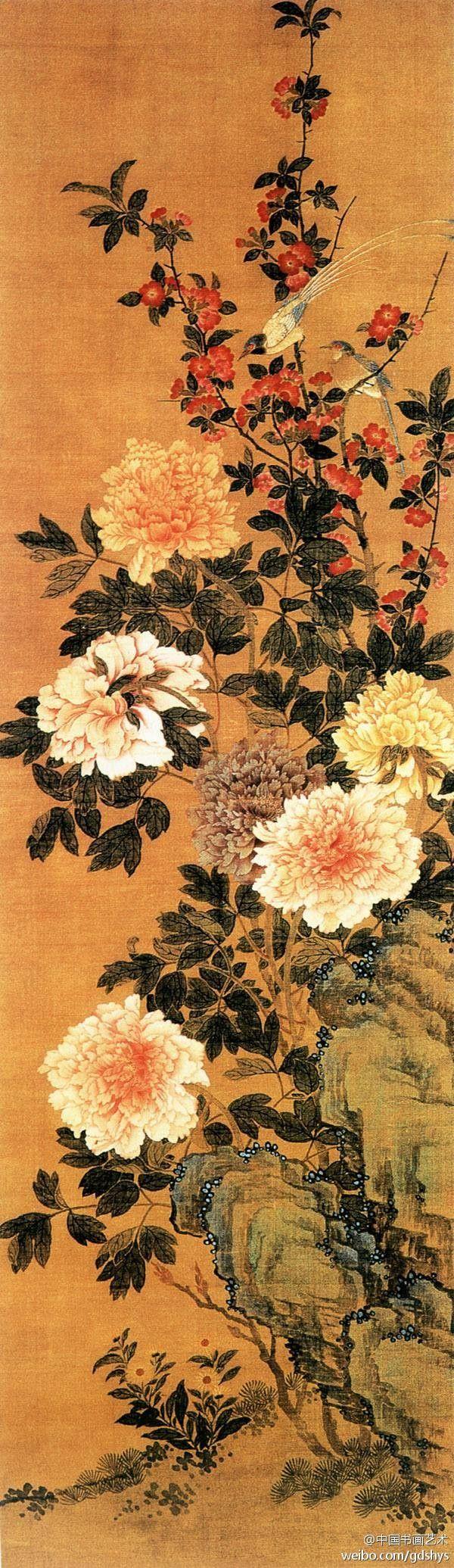 张杰《花鸟图》--- 此画中牡丹花已经盛开,高矮错落,尽显国色天香之韵味。高处的海棠花开似火,一对雉鸟一上一下停在枝上。整幅画设色考究线条流畅,充分发挥出工笔花卉刻画细致的特点。张杰,清代画家。江苏扬州人。