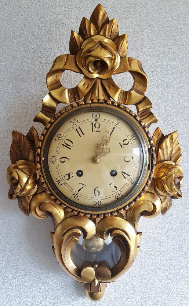 Beautiful Cartel Wall Clock Gilded Wood Case Westerstrand