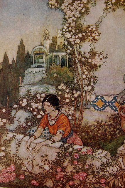 Edmund Dulac illustration in Rubáiyát of Omar Khayyám by Crossett Library Bennington College on Flickr.  Illustration by Edmund Dulac in Rubáiyát of Omar Khayyám by Omar Khayyám. Rendered into English verse by Edward Fitzgerald. London