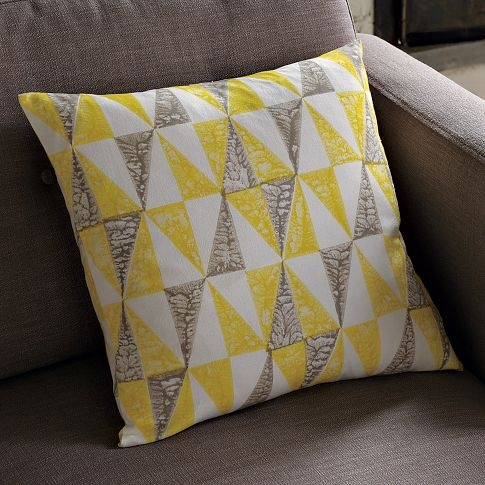 hand-blocked pillow from West Elm: Quilt, Yellow Pillows, Pattern, Triangle, Accent Pillows, Colors, Pillow Covers, Bedroom