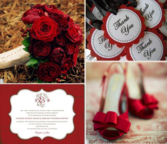 crimson and cream wedding inspiration board...for an IU colored wedding! even though i will end up doing purple