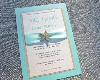 beach sweet 16 invitation | ... and Gold Sweet 16 Invitation, Glitter, Starfish, Bat Mitzvah, Beach