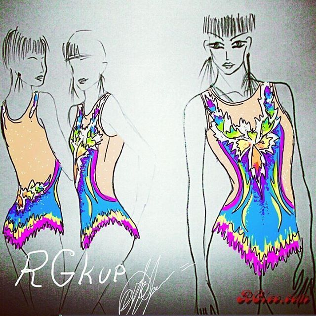 """109 Likes, 2 Comments - Juliy Annushkina (RGkup) (@rgkup_leotards) on Instagram: """"This is my own original sketch for new rhythmic gymnastics leotard! I reall hope this design will…"""""""