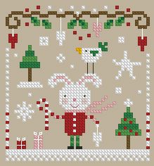 The Floss Box | Christmas Bunny Cross Stitch