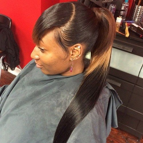 ponytail with bangs for black women