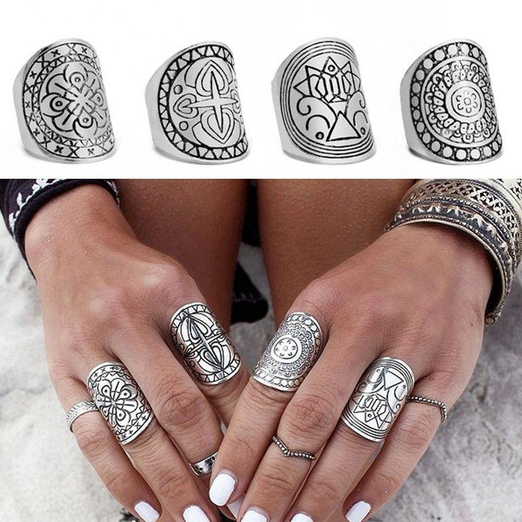 Комплект / 4 богемия миди кольца для женщин мода античные тибетские посеребренная резные костяшки пальцев Bague роковой Boho ювелирные изделия 2015 купить на AliExpress