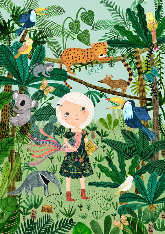 Jungle Girl - by Rebecca Jones Giclee print of an original illustration ©2016