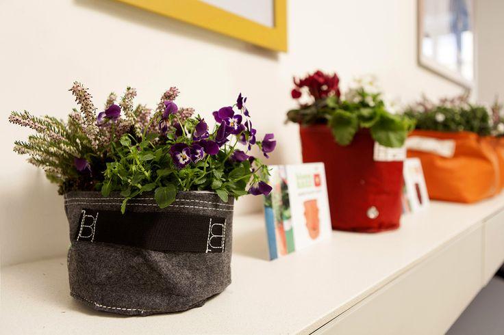 Vasi in tessuto traspirante, colorato e resistente.  Arredate gli spazi, vestite le vostre piante.