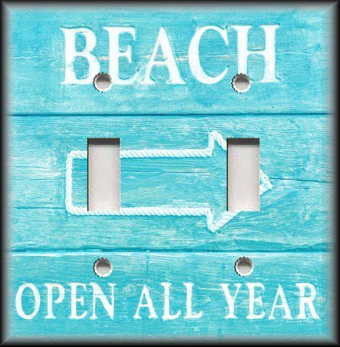 Light Switch Plate Cover - Beach Sign Aqua Blue - Beach Home Decor - Coastal #LunaGallerySwitchPlates