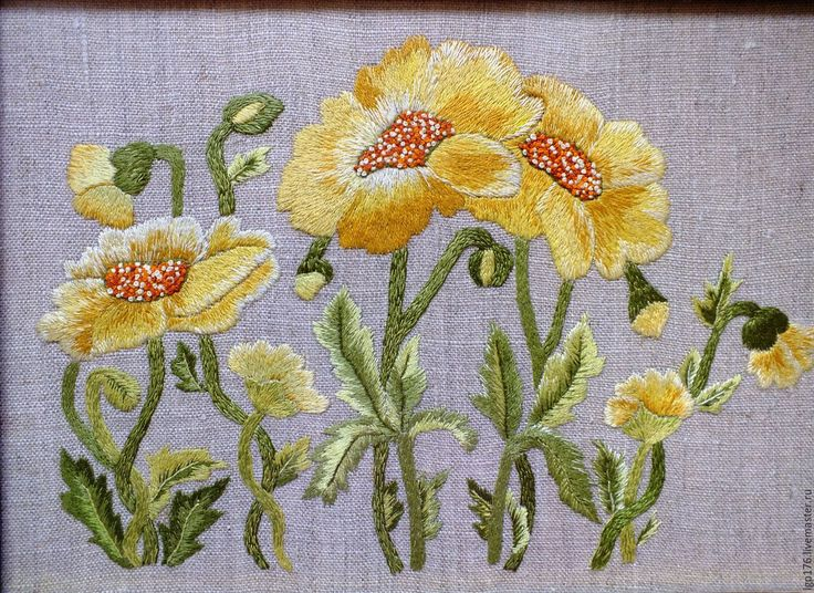 "Buy Embroidered picture ""Yellow flowers"" - embroidered pattern, embroidery, embroidery manual, floss, handmade"
