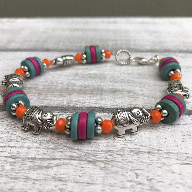 Elephant Beaded Bracelet, Orange Glass Beads, Greek Handmade Ceramic Beads, Tibetan Silver Elephants, Bohemian Bracelet, Boho Bride, Hathi by nimmysjewellery on Etsy
