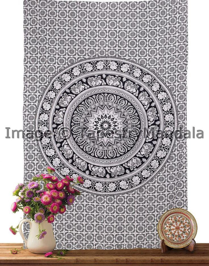 Indian Hippie Mandala Tapestry Elephant Twin Black White Wall Hanging ICSTT9024 #HandmadeCraftaura #BedspreadTapestry