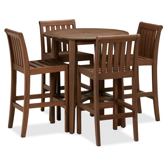chatham round bar table u0026 barstool set dark honey potterybarn bar height dining