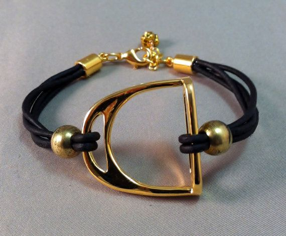 Gold Stirrup and Leather Bracelet, Equestrian Bracelet, Stirrup Bracelet, Equestrian Jewelry on Etsy, $35.00