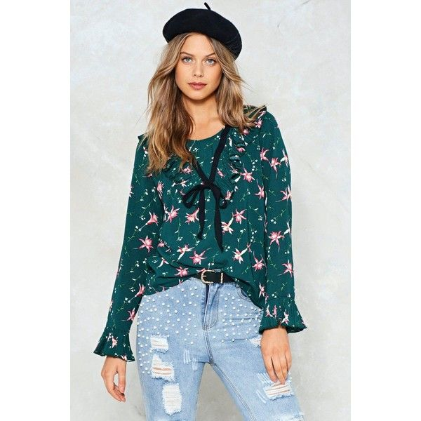 Nasty Gal Pictures of Lily Floral Top ($50) ❤ liked on Polyvore featuring tops, green, floral tops, scoop neck top, blue top, frill sleeve top and green top