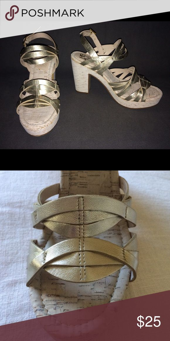 """White gold MRKT Henley chunky sandals White gold leather straps and cork chunky heel. """"This chunky sandal is perfectly paired with denim and skirts for a chic, casual look."""" 1 1/4"""" platform, 4"""" heel.  Worn only twice. MRKT Shoes Sandals"""