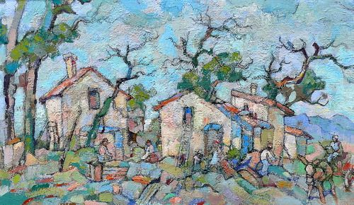 Boonzaier, Gregoire | Rural Settlement | Oil on Board | Code : 7684 | Size : 500 x 860mm | Sorry I