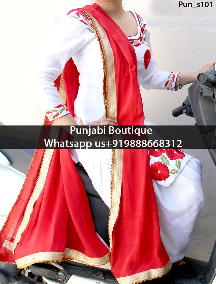 White wth Red Flower Punjabi Suit  Product Code: Pun_s101 To order this dress , please call or WhatsApp us at +919888668312 or directly message us on FB We can design this Suit in any color combination or on any fabric (price may vary according to fabric)
