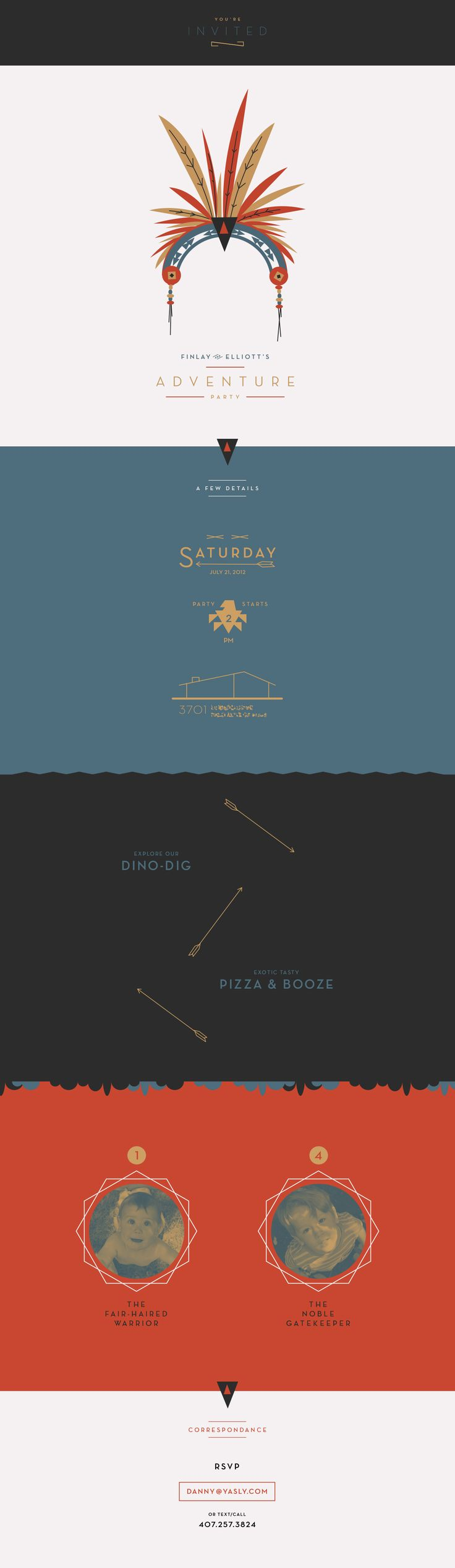 """an 'adventure party' invite. """"exotic tasty, pizza + booze"""""""