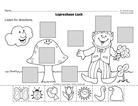 """Leprechaun Luck"" Positional Word Activity (free; from The Mailbox; **turn this into a felt board activity!**)"