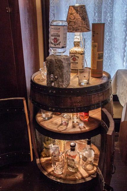 Custom Made Bourbon Barrel Liquor Cabinet