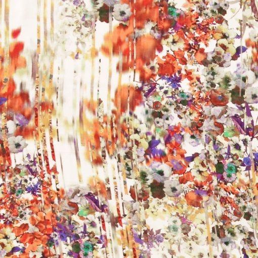 Vævet twill viscose med blomster mix - STOFF & STIL