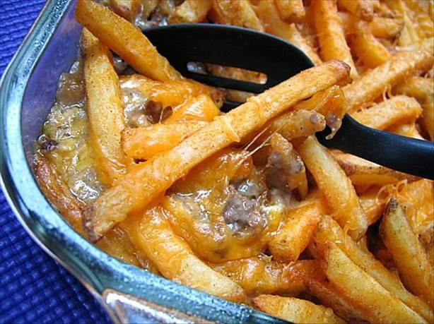 Cheeseburger & Fries Casserole from Food.com:   								This is a delicious, filling recipe that is very quick & easy to prepare. It's definitely not for those watching their waistlines but great as a hearty, comforting treat once in a while.