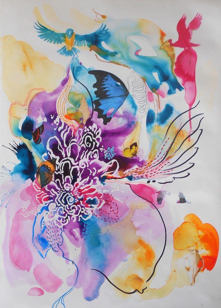 Birdsong – Watercolour + Collage on paper PLATFORMstore