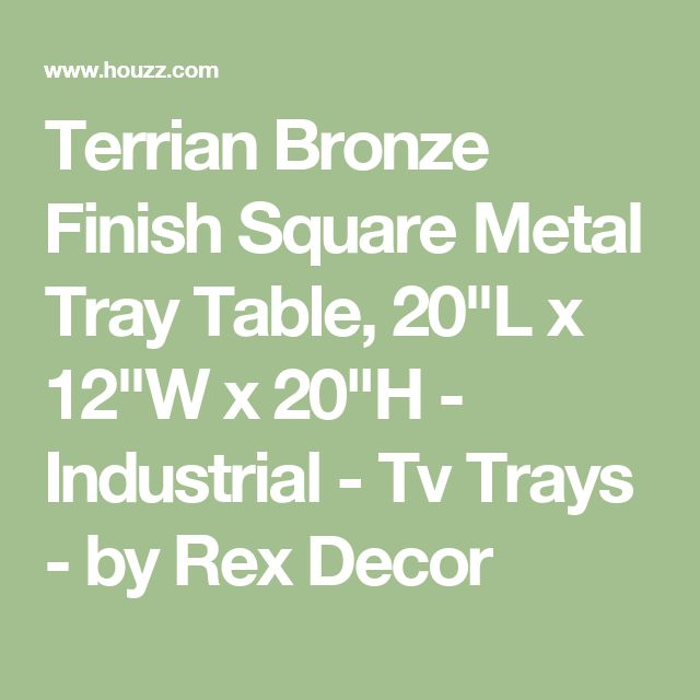 """Terrian Bronze Finish Square Metal Tray Table, 20""""L x 12""""W x 20""""H - Industrial - Tv Trays - by Rex Decor"""